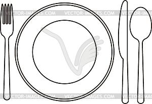 Teller, Messer, Löffel und Gabel - Stock-Clipart