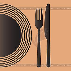 Teller, Messer und Gabel - Vector-Clipart / Vektor-Bild