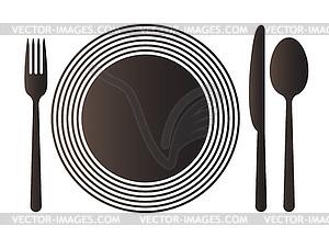 Teller, Messer, Löffel und Gabel - Vector-Clipart / Vektor-Bild