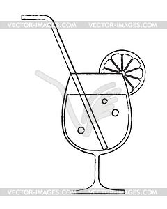 Cocktail-Glas mit Zitrone und Strohhalm - Vector-Clipart EPS