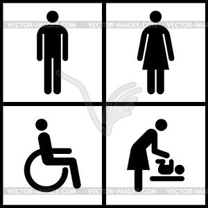 Toilette anmelden - Restroom, Mutter Raum und Behinderten - Vektor-Skizze