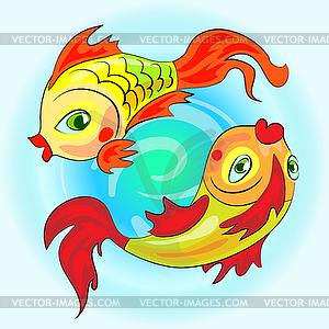 Zwei Goldsternzeichen Fische - Vector-Abbildung