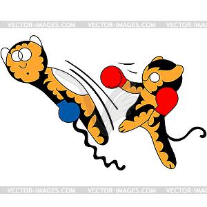 Cartoon Tigerjunges netten jungen Kampfkunst - Vektor-Clipart / Vektor-Bild