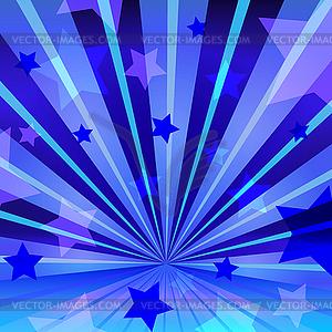 Abstrakter blauem Hintergrund mit Sternen und strahl - vektorisierte Grafik