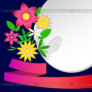 Karte mit einfachen Blumen, Rahmen und Band - Royalty-Free Clipart