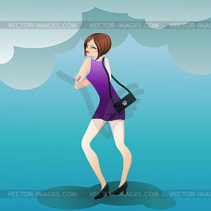 Fashion niedliche Mädchen mit Handtasche - Vektor-Clipart