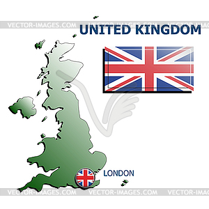 Collage Karte Flagge Abzeichen uk - Clipart