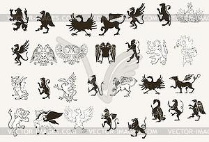 Designtnt Vektor griffins Satz - farbige Vektorgrafik