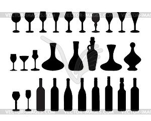 Gläser und Flaschen Wein 2 - Royalty-Free Clipart