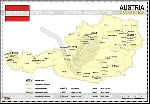 Landkarte von Österreich - Royalty-Free Clipart