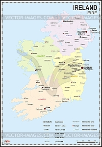 Landkarte von Irland mit Nordirland - Vector-Bild