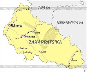 Landkarte von Oblast Transkarpatien - Vektor-Clipart EPS
