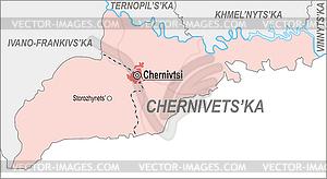 Landkarte von Czernowitz Oblast - Vektor-Design