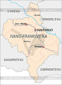 Landkarte von Ivano-Frankivsk Oblast - Vector-Design