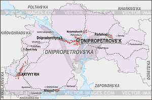 Landkarte von Oblast Dnipropetrowsk - Vektor-Clipart EPS