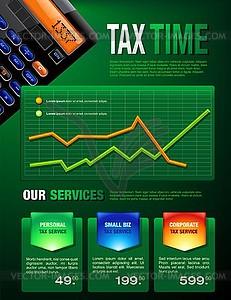 Business Tax Finanzen Broschüre - farbige Vektorgrafik