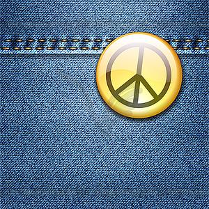 Friedens Abzeichen auf Denim Fabric Texture Jacket - Stock Vektorgrafik