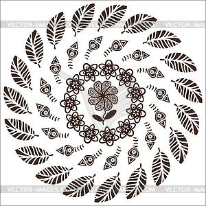 Kreismuster von Blumen für verschiedene Zwecke - vektorisiertes Clip-Art