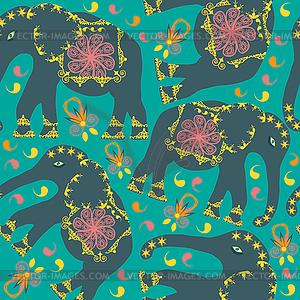 Oriental nahtlose Muster mit Elefanten auf grün - farbige Vektorgrafik