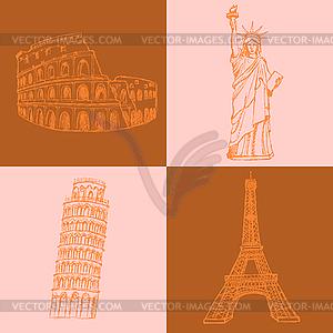 Sketch Eifel Turm, Pisa-Turm, Kolosseum und - Vector-Clipart