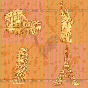 Sketch Eifel Turm, Pisa-Turm, Kolosseum und - Vector-Clipart EPS