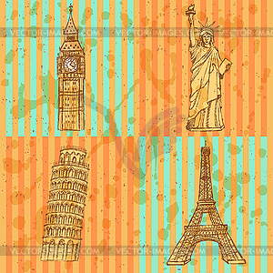 Sketch Eifel Turm, Pisa Turm, Big Ben und Statue - Vektor-Clipart / Vektorgrafik