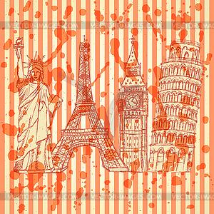 Sketch Eifel Turm, Pisa Turm, Big Ben und Statue - vektorisierte Abbildung