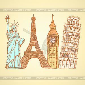 Sketch Eifel Turm, Pisa Turm, Big Ben und Statue - vektorisiertes Clipart