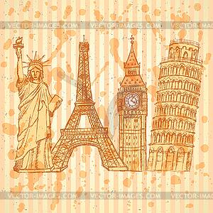 Sketch Eifel Turm, Pisa Turm, Big Ben und Statue - vektorisiertes Bild