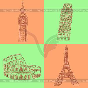 Sketch Eifel Turm, Pisa Turm, Big Ben und - Vector-Clipart / Vektor-Bild
