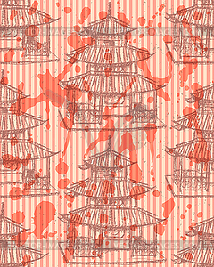 Sketch chinesischen Tempel, nahtlose Muster - Vector-Illustration