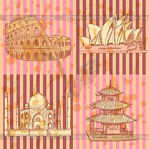 Sketch chinesischen Tempel, Kolosseum, Taj Mahal und Sydne - Vektor-Clipart EPS