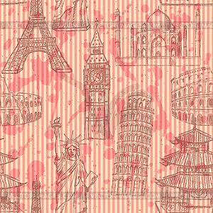 Sketch Eiffelturm, Pisa-Turm, Big Ben, Taj Mahal - Stock-Clipart