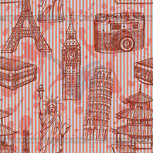 Sketch Eiffelturm, Pisa-Turm, Big Ben, suitecase - Vektor-Clipart EPS