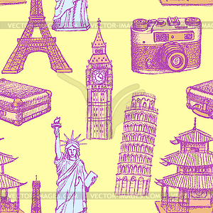 Sketch Eiffelturm, Pisa-Turm, Big Ben, suitecase - vektorisiertes Clip-Art