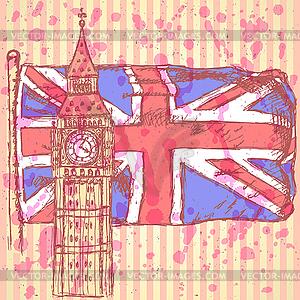 Skizzieren Sie Big Ben auf Fliese mit UK-Flagge, Hintergrund - vektorisiertes Design