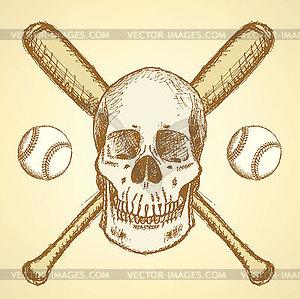 Sketch Baseball-Ball, Schläger und Schädel - Klipart