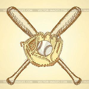 Sketch Baseball-Ball, Handschuh und Schläger - Royalty-Free Clipart
