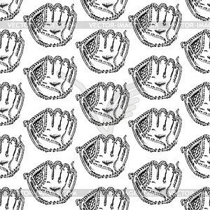 Sketch Baseball-Handschuh, Jahrgang nahtlose Muster - schwarzweiße Vektorgrafik