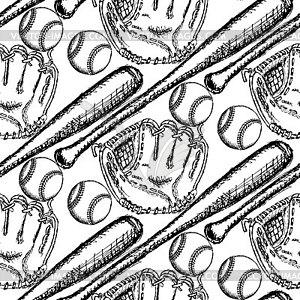 Sketch Baseball-Ball, Schläger und Handschuh, nahtlos - vektorisierte Grafik
