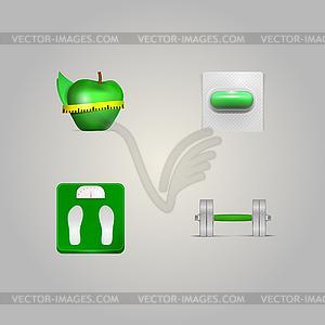 Illustration der Elemente eines gesunden Lebensstils - Vector-Clipart / Vektor-Bild