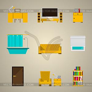 Icons für die Wohnung - Vektor-Clipart / Vektor-Bild