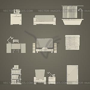 Icons für die Wohnung - Vektorgrafik-Design