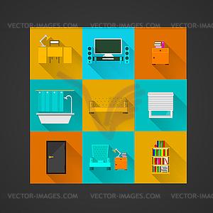 Icons für die Wohnung - Vector-Design