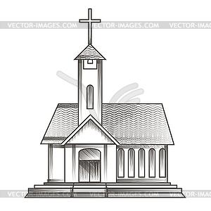 Kirche in Gravur-Stil gezeichnet - vektorisiertes Design