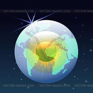 Augapfel Globus im Raum - Vektorgrafik-Design