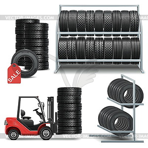 Vektor-Icons Reifen-Shop - Vector-Clipart / Vektor-Bild