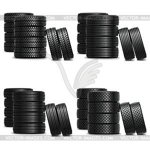 Vektor-LKW-Reifen-Sets - vektorisierte Grafik