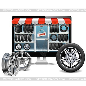 Reifen-Shop-Konzept - Stock Vektorgrafik