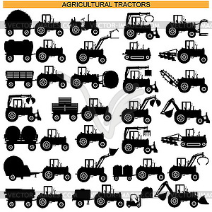 Landwirtschaftlichen Traktor Piktogramme - Vektor-Clipart / Vektorgrafik